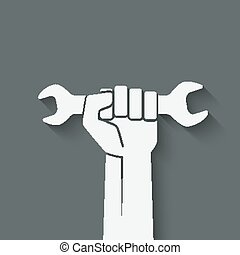 worker hand with wrench symbol - vector illustration eps 10