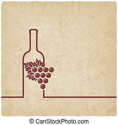 wine menu old background - wine menu with bottle and grapes...