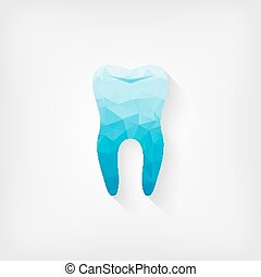 tooth blue polygon symbol