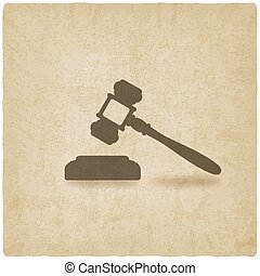 judge or auctioneer hammer old background - vector...
