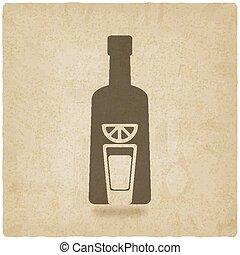 tequila bottle old background - vector illustration. eps 10