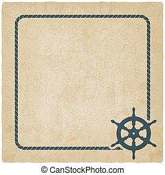 marine background with steering wheel