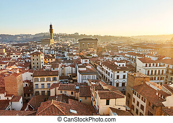 Panoramic view of Florence at sunset, Italy.