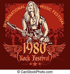 Rock concert poster - 1980s Vector illustration - Rock...