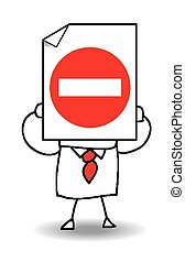No entry - John Doe holds a sheet of paper on which is drawn...