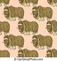 Sketch fancy yak in vintage style, vector seamless pattern