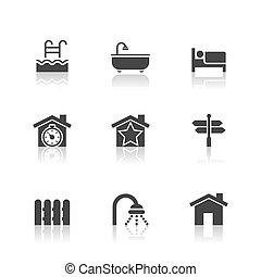verklig, sätta, reflexion, egendom, ikonen