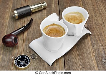 Spyglass, Compass, Smoking Pipe and Two White Espresso...