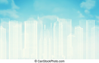 Wire-frame buildings Bly sky with clouds as backdrop - White...