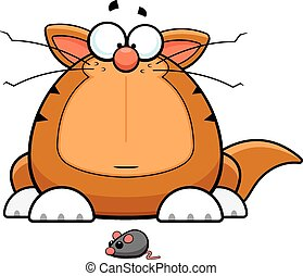 Cartoon Funny Cat With Toy Mouse - Cartoon illustration of a...