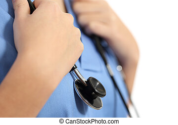 Close up of a nurse hands with stethoscope isolated on a...