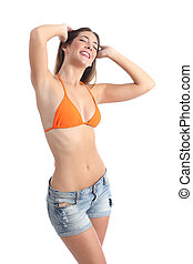 Woman showing her laser hair removal armpits isolated on a...