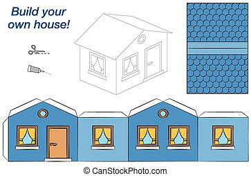 House Paper Model Blue - Paper model of a blue house - easy...