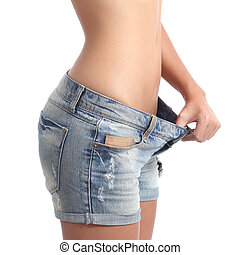 Woman weight loss diet concept
