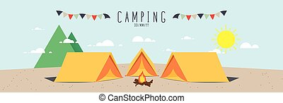 Campsite. (Day) - Illustration vector of a campsite. (Day)