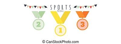 Medal (Sports) - vector illustration of Three medals.