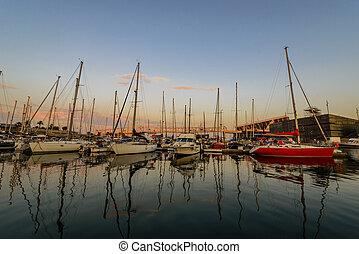 ocaso, mar, Yates, bahía