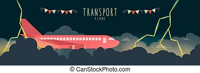 Plane in the sky that bad weather. (transportation) - Vector...