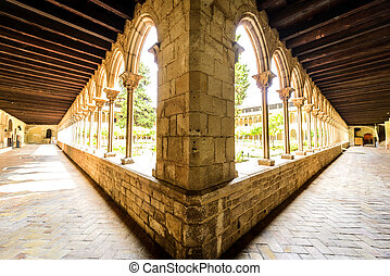 Wide view of Antique corridor - Panoramic archway in the...
