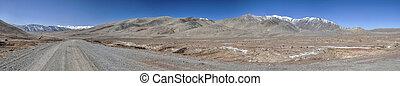 Tajikistan panorama - Scenic panorama of road leading...