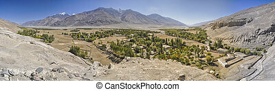 Tajikistan panorama - Scenic panorama of green valley on...