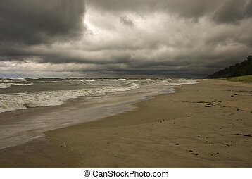 Stormy Weather - Stormy weather along the coast of Lake...