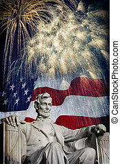 Abraham Lincoln Fireworks - Compsite photo of the statue of...
