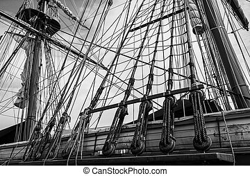 Tall Ship Rigging - Black and white photo of the masts and...