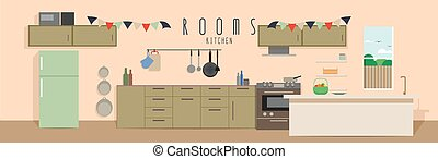 Kitchen Rooms - vector illustration of a kitchen