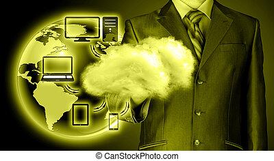 calcolare, concetto, tecnologia, nuvola, connettività