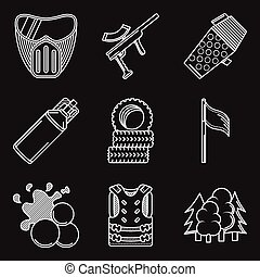 White flat line vector icons for paintball equipment - Set...