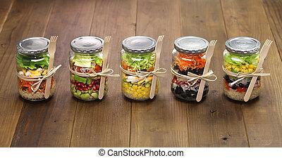 玻璃, 罐子, 沙拉