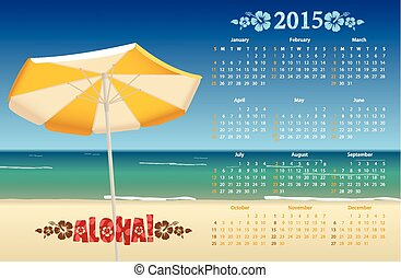 Vector American calendar 2015 with tropic beach