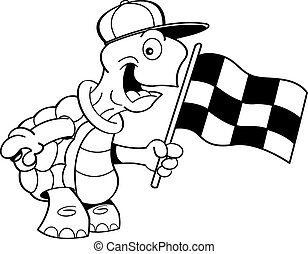Cartoon turtle waving a flag - Black and white illustration...