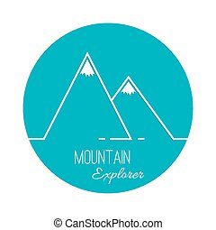 The mountains with snowy peaks Vector icon Logo Hiking,...
