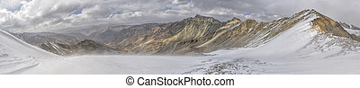 Tajikistan panorama - Scenic panorama of cold mountainous...