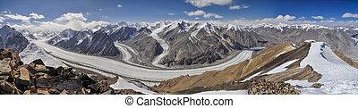 Pamir in Tajikistan - Scenic panorama of Fedchenko glacier...