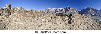 Tajikistan panorama - Scenic panorama of old ruins on arid...
