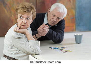 Marital problems in old age - Senior couple having marital...