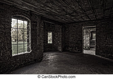 Inside Squires Castle - View from inside looking out at...