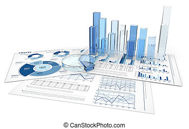 Analyze. - Blue infographics documents with 3D graphs and...