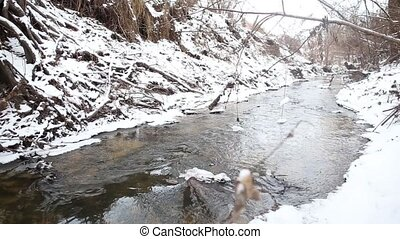 Ice water running in spring creek - Running streams of clean...