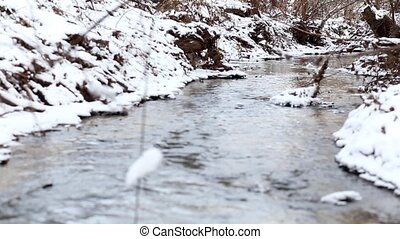 Snow melting on stream banks - Spring has come Snow melting...