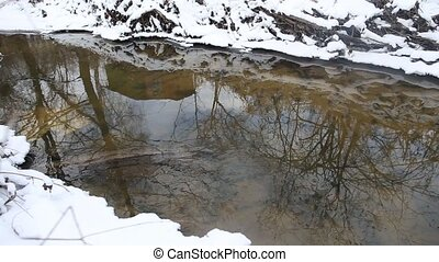 House reflecting in spring creek - Running streams of clean...