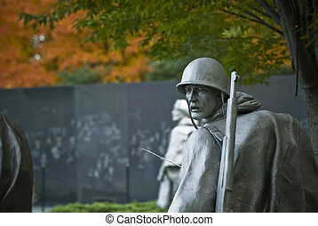Korean War Memorial - One of the statues at the Korean War...