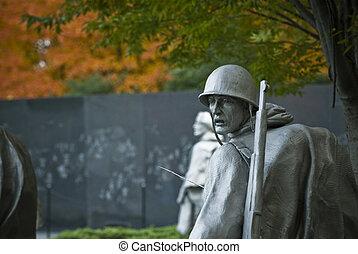 Korean War Memorial - One of the statues at the Korean War...
