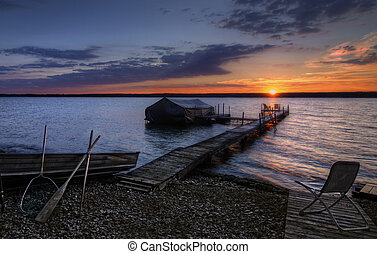 Lake Cayuga Sunrise - A beautiful autumn sunrise on the...