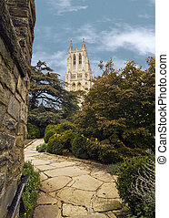National Cathedral - A beautiful winding stone path leading...