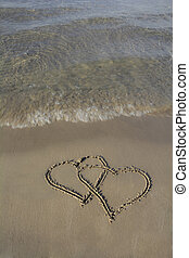 Beach Sand Hearts - Two intertwined hearts representing love...