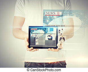 man showing tablet pc with news